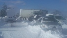A photo of stranded vehicles in Snowmageddon's aftermath in Dec. 2010. (Source: Lambton County Archives)