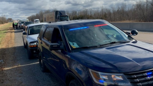 The OPP says a vehicle was stopped for unauthorized licence plates on Highway 401 in Napanee on Tuesday. (Photo courtesy: OPP_ER)