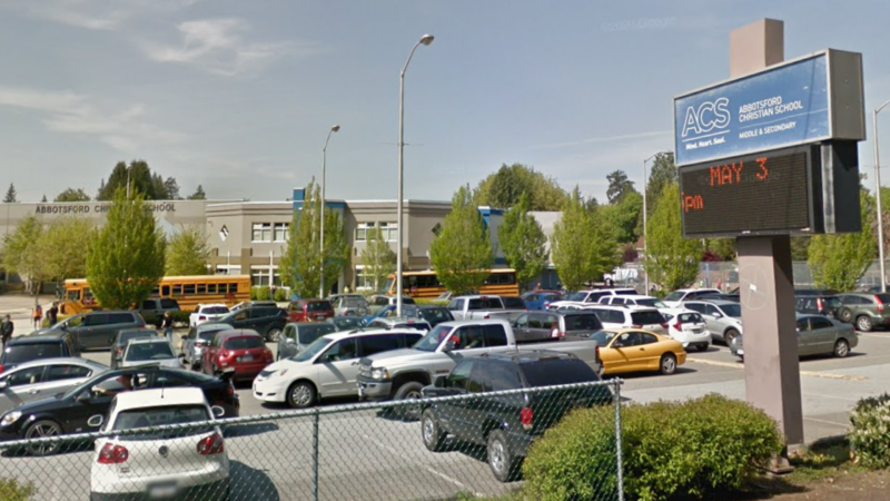The parking lot of Abbotsford Christian School in Abbotsford, B.C. is seen in an undated Google Maps image.
