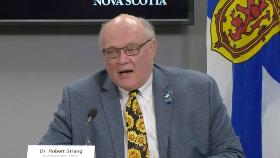 Nova Scotia Chief Medical Officer of Health Dr. Robert Strang provides an update on COVID-19 during a news conference in Halifax on Nov. 17, 2020.