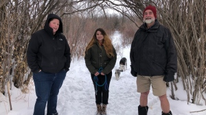 Heather Jamison, Alexandra Green and Glen Green. The Greens helped rescue Jamison's partner, Leah Grigg, from the river. (Kaitlyn Schropp/CTV Saskatoon)