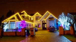 Christmas lights on a Metro Vancouver home on Nov. 17, 2020.
