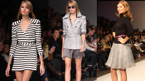 'Canada's Next Top Model' winner Meaghan Waller walks the runways for Toronto Fashion Week. Left and centre photos are Pink Tartan show and right photo is Barbie by David Dixon. (Melonie De Guzman / CTV)