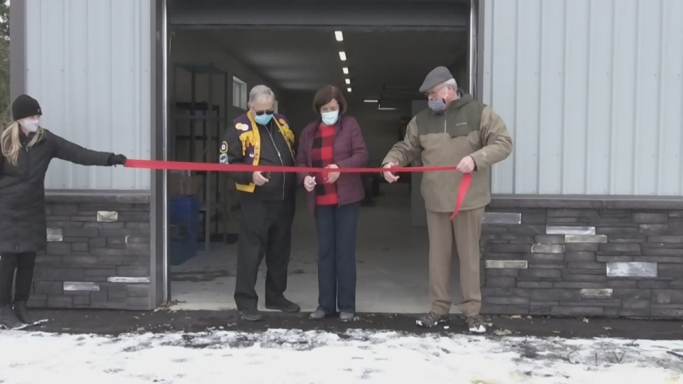 The Elmvale District Food Bank holds a ribbon cutting ceremony at its new location on Wed., Nov. 18, 2020. (Lexy Benedict/CTV News)