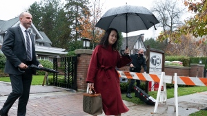 Chief Financial Officer of Huawei, Meng Wanzhou leaves her home in Vancouver, Wednesday, November 18, 2020. THE CANADIAN PRESS/Jonathan Hayward