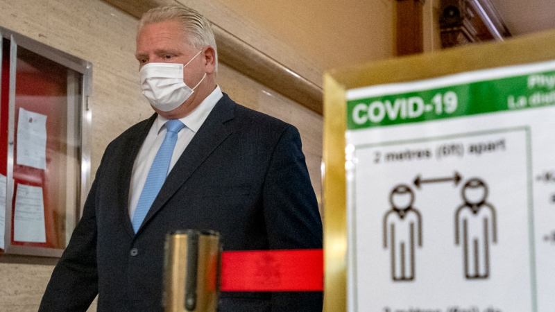 Ontario Premier Doug Ford arrives for the daily briefing at Queen's Park in Toronto on Tuesday November 17, 2020. THE CANADIAN PRESS/Frank Gunn