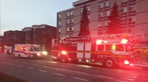 Ottawa firefighters raced to the scene of an apartment fire on Cobourg Street Thursday morning. (Scott Stilborn/Ottawa Fire Services)