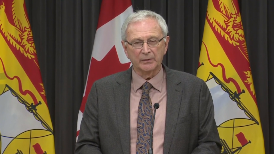 New Brunswick Premier Blaine Higgs provides an update on COVID-19 at a Nov. 19 news conference in Fredericton.