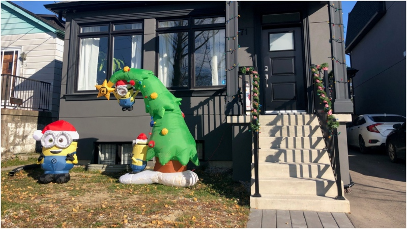 Christmas decorations are seen in front of this south Etobicoke home. (Steven Singh)