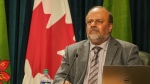 Dr. Shahab speaks to the media at the Saskatchewan Legislative Building, on Nov. 19, 2020. (Marc Smith/CTV News)
