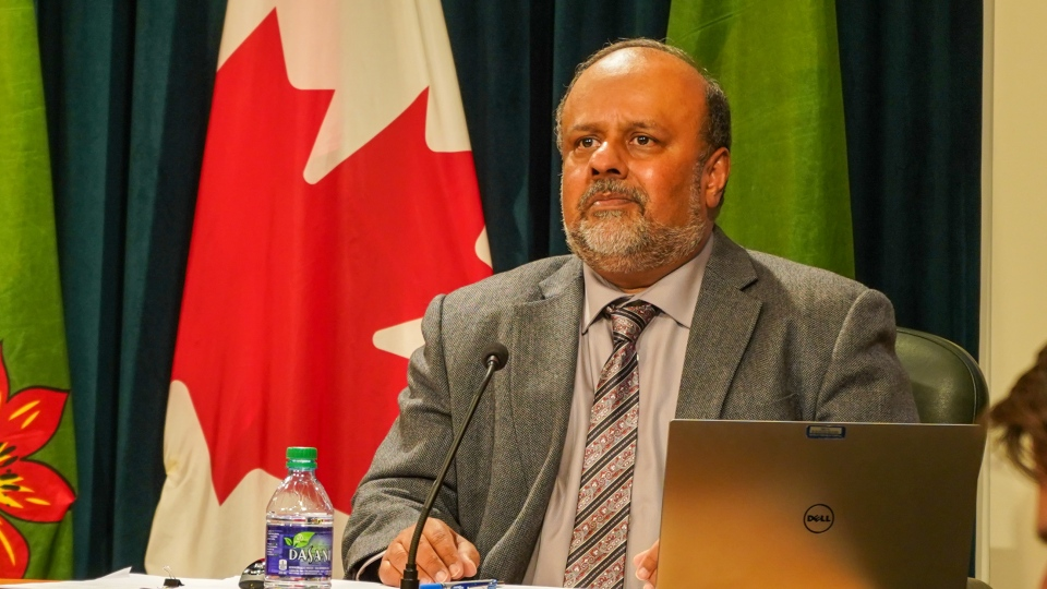 Dr. Saqib Shahab speaks Nov. 19 about new modelling that shows cases of COVID-19 could at least double in the province over the next six months. (Marc Smith/CTV News)