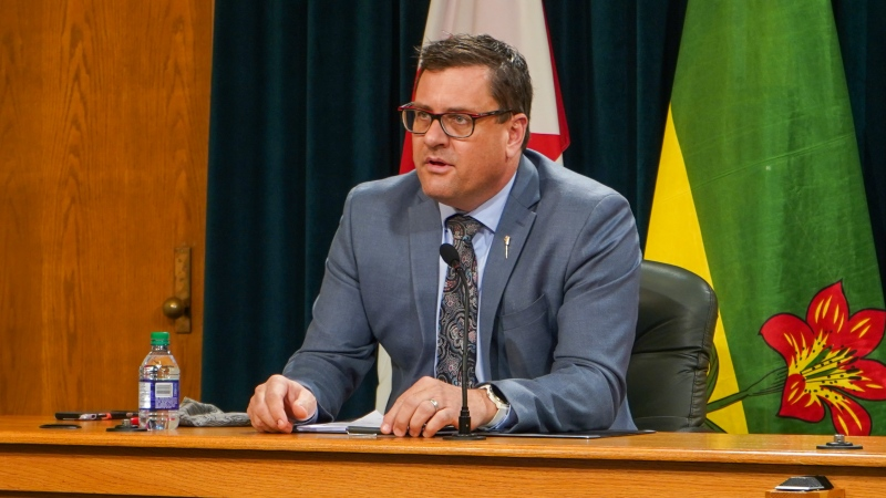 Saskatchewan Health Minister Paul Merriman speaking Nov. 19 about rising COVID-19 cases. (Marc Smith/CTV News)