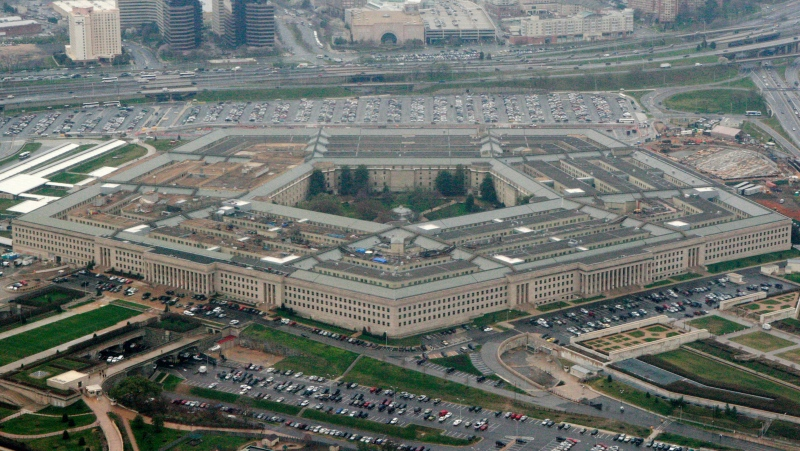 The Pentagon, seen in this March 27, 2008 file photo, said the strikes were in retaliation for a rocket attack in Iraq earlier this month that killed one civilian contractor and wounded a U.S. service member and other coalition troop. (AP Photo/Charles Dharapak, File)