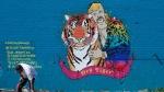 A mural depicting Joseph Maldonado-Passage, also known as as 'Joe Exotic,' in Dallas, on April 10, 2020. (LM Otero / AP)