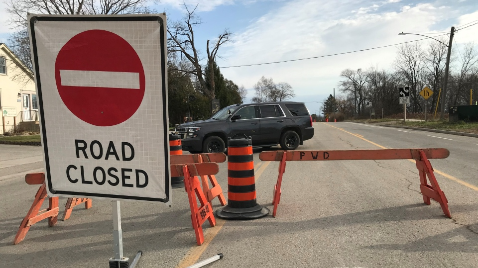 Coldwater Road in Orillia, Ont., is closed for a police investigation on Fri., Nov. 20, 2020.