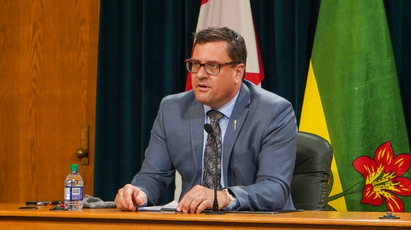 Saskatchewan's Minister of Health, Paul Merriman, speaks to reporters at the Legislative Building on Nov. 19, 2020. (Marc Smith/CTV News)