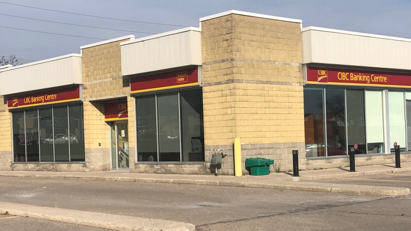 A break and enter left this CIBC branch in London, Ont., seen Friday, Nov. 20, 2020, with $100,000 in damage.