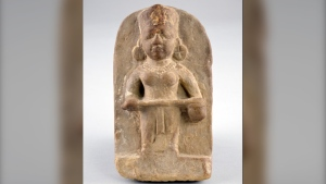 Figure of Annapoorna (Benares, India, 18th century), artist unknown, stone, 17.30 x 9.90 x 4.90 cm. (Photo: Don Hall_