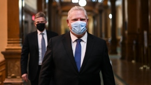 Ontario Premier Doug Ford Ontario walks to his press conference during the COVID-19 pandemic in Toronto, Friday, November 20, 2020. Ontario is moving the COVID-19 hot spots of Toronto and Peel Region into lockdown starting Monday. THE CANADIAN PRESS/Nathan Denette