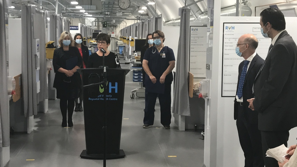 Royal Victoria Regional Health Centre's president and CEO Janice Skot in Barrie, Ont., inside the new Pandemic Response Unit. Nov. 20, 2020 (Mike Arsalides/CTV News)