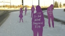 These cut-out purple figures, also referred to as silent witnesses, have been placed along Taylor Drive in Red Deer to raise awareness about family violence.