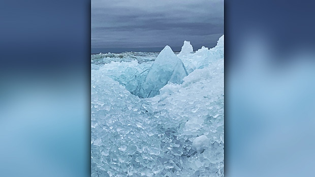 Ice build up on Lake Winnipeg, Arnes, Mb. Photo by Albert Ras.