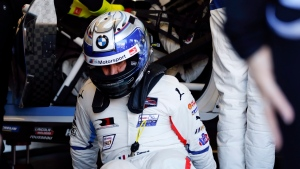 Alex Zanardi practices driver changes with team members in the BMW M8 GTE as he prepares for the IMSA 24 hour race at Daytona International Speedway, Friday, Jan. 25, 2019, in Daytona Beach, Fla. (AP Photo/Terry Renna)