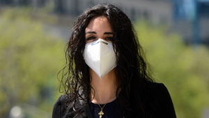 Liberal MP Emmanuella Lambropoulos arrives on Parliament Hill during the COVID-19 pandemic in Ottawa on Wednesday, May 20, 2020. THE CANADIAN PRESS/Sean Kilpatrick