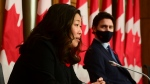 Minister of Small Business, Export Promotion and International Trade Mary Ng talks as Prime Minister Justin Trudeau looks on as they provide an update during the COVID pandemic in Ottawa on Tuesday, Nov. 3, 2020. THE CANADIAN PRESS/Sean Kilpatrick