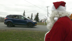 Residents had a chance to drive-by and see Santa in Harrowsmith, north of Kingston. (Kimberley Johnson/CTV News Ottawa)