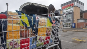 A customer loads her groceries at a Metro store Monday, April 15, 2019 in Ste-Therese, Que, north of Montreal. Shopping habits have drastically changed since last year with the COVID-19 pandemic altering food-buying patterns.THE CANADIAN PRESS/Ryan Remiorz