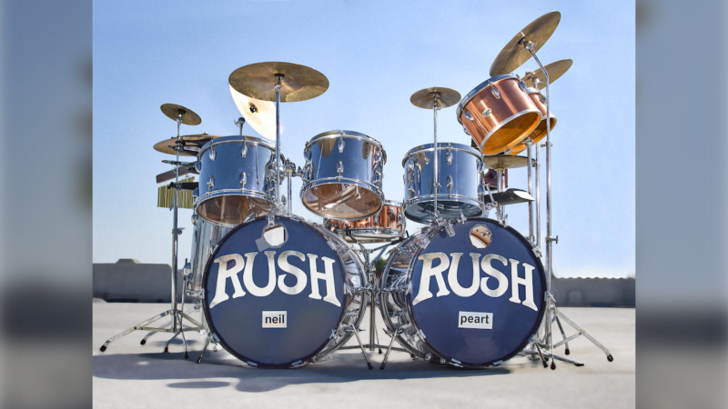 The chrome Slingerland set, which Neil Peart used both onstage and on albums, is expected to fetch more than $100,000 at auction. (Courtesy Bonhams)