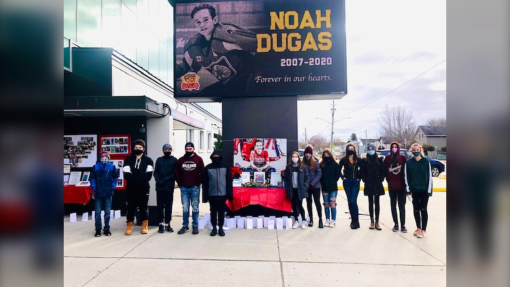 Noah Dugas vigil at Memorial Gardens