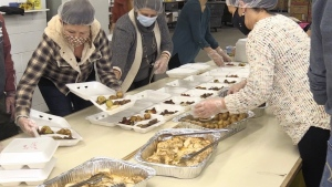 """More than 20 volunteers stepped up and offered a helping hand in an act of kindess organizers are calling """"One Good Meal."""" Nov. 22/20 (Molly Frommer/CTV News Northern Ontario)"""