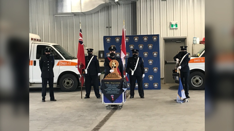 Several different officials took turns during the ceremony to read the names of 51 paramedics who have lost their lives in the line of duty. It also included a moment of silence, speeches from city officials and a drum song to honour the fallen medics. Nov.22/20 (Alana Pickrell/CTV News Northern Ontario)