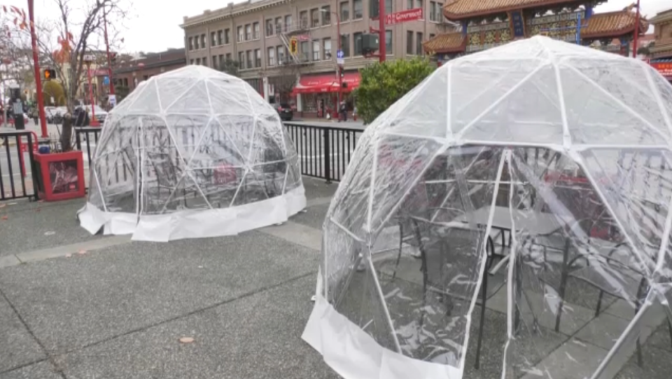 A cafe in Chinatown has taken a novel approach to creating a safe place for customers looking to dine on the patio during the winter months. (CTV)