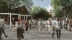 The proposed new look for George Street in the ByWard Market, with broad pedestrian promenades. (Photo courtesy: ByWard Market Public Realm Plan Recommendations Report)