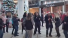 People dancing without masks and not socially distancing at Place Rosemere shopping mall on Nov. 21, 2020. (Source: C'est Normal au Quebec's YouTube channel)