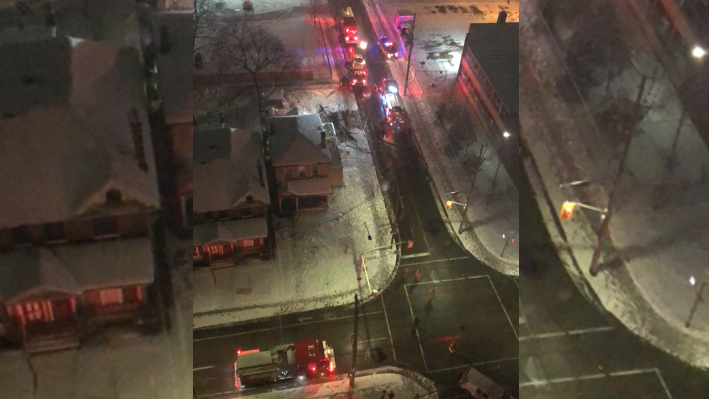 Fire crews on scene at the corner of Lyle and King Streets. (Courtesy Lee Reza)