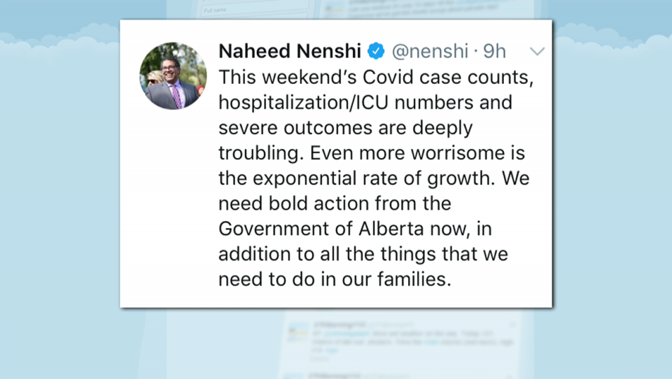 Mayor Naheed Nenshi took to Twitter on Nov. 22 and called on the provincial government to take 'bold action' to address the 'worrisome' exponential rate of growth (Twitter)