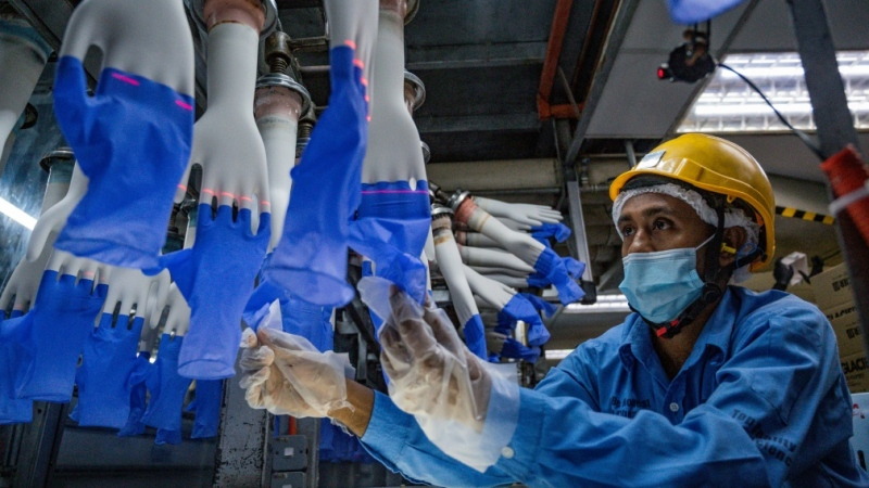 A worker on the production line of a Top Glove factory in Shah Alam, near Kuala Lumpur, in August 2020. (AFP)