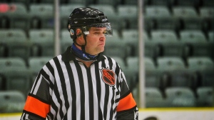 A referee jersey Mick McGeough wore in the NHL is donned by his son, Luke, at an SJHL game in Estevan on Saturday. (Courtesy: Durr Photography)