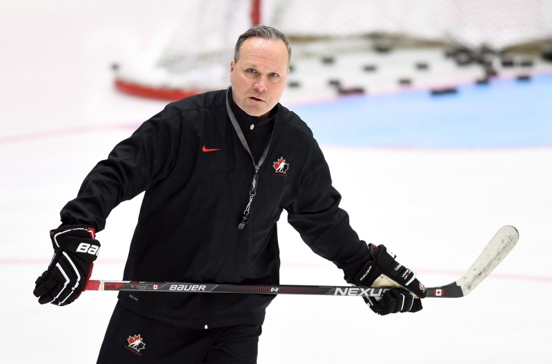 Canada's head coach Dave Lowry during practice at the IIHF World Junior Championship in Helsinki, Finland, on Wednesday, December 30, 2015. THE CANADIAN PRESS/Sean Kilpatrick