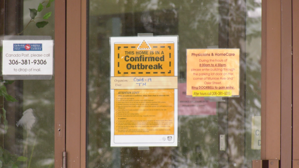 A sign displayed at the entrance of Luther Special Care Home on Nov. 23, 2020. (Chad Hills/CTV News)