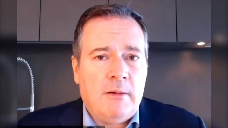 Premier Jason Kenney spoke during a webinar hosted by the Canada India Foundation. (Youtube/Canada India Foundation)