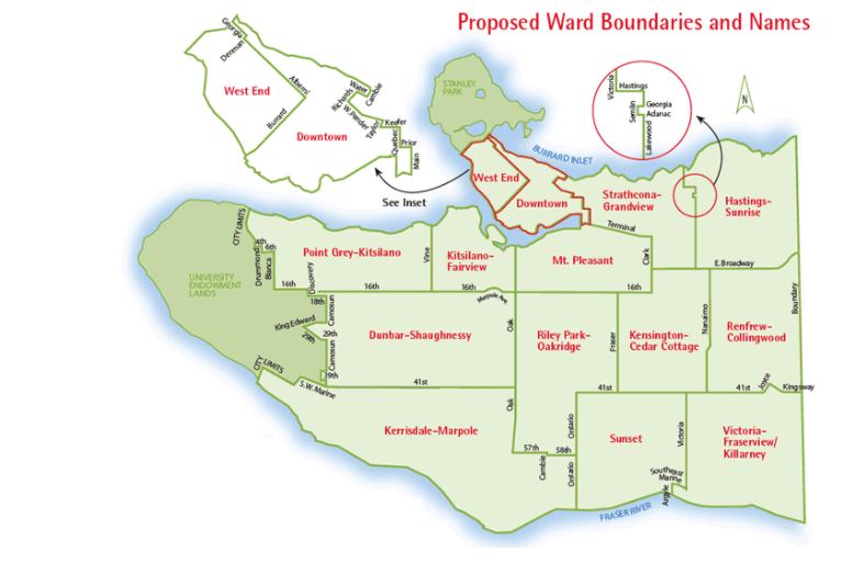Vancouver's proposed voting neighbourhoods from the 2004 plebiscite. (City of Vancouver)