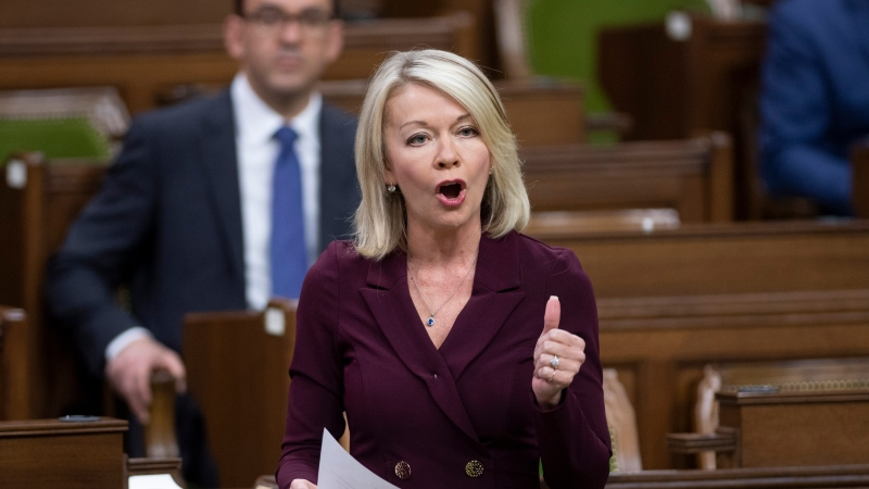Conservative MP Candice Bergen rises during Question Period in the House of Commons Monday November 23, 2020 in Ottawa. THE CANADIAN PRESS/Adrian Wyld