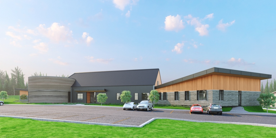 Architect renderings of the Lac La Ronge Indian Band Wellness, Healing and Recovery Centre