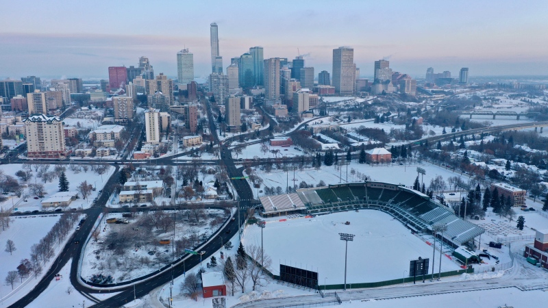 Edmonton generic skyline winter stadium