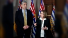 Then-Liberal leader Andrew Wilkinson looks on as MLA Shirley Bond answers questions during a press conference following the budget speech from the legislative assembly at Legislature in Victoria, on Tuesday, Feb. 19, 2019. (Chad Hipolito / THE CANADIAN PRESS)